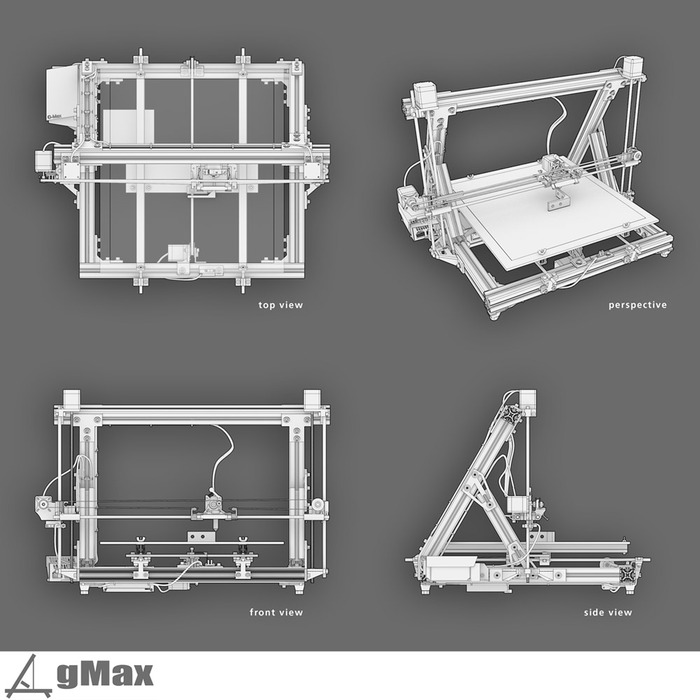 Gmax 3d printer prints big objects launches on 3d printer plan