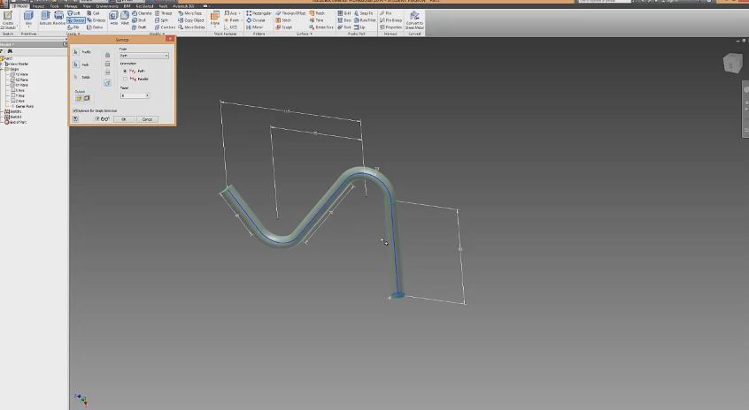 Autodesk Inventor Tutorial – Sweep Tool