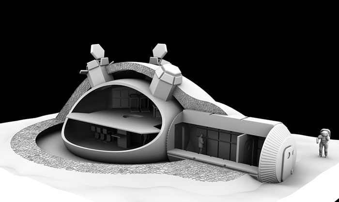 In 2013 the European Space Agency started testing with a 3d printed lunar base concept.