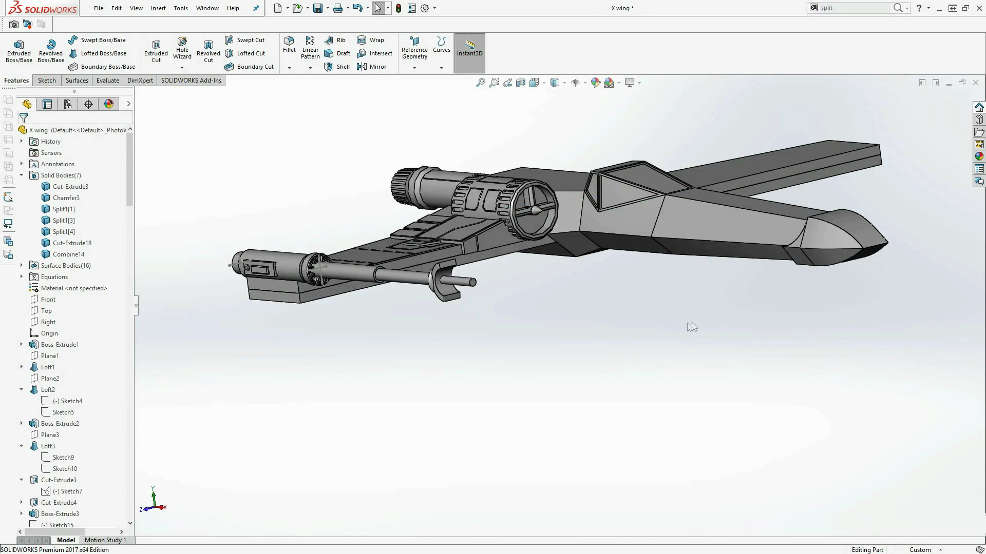 3d Printing A Star Wars X Wing With Solidworks 3d
