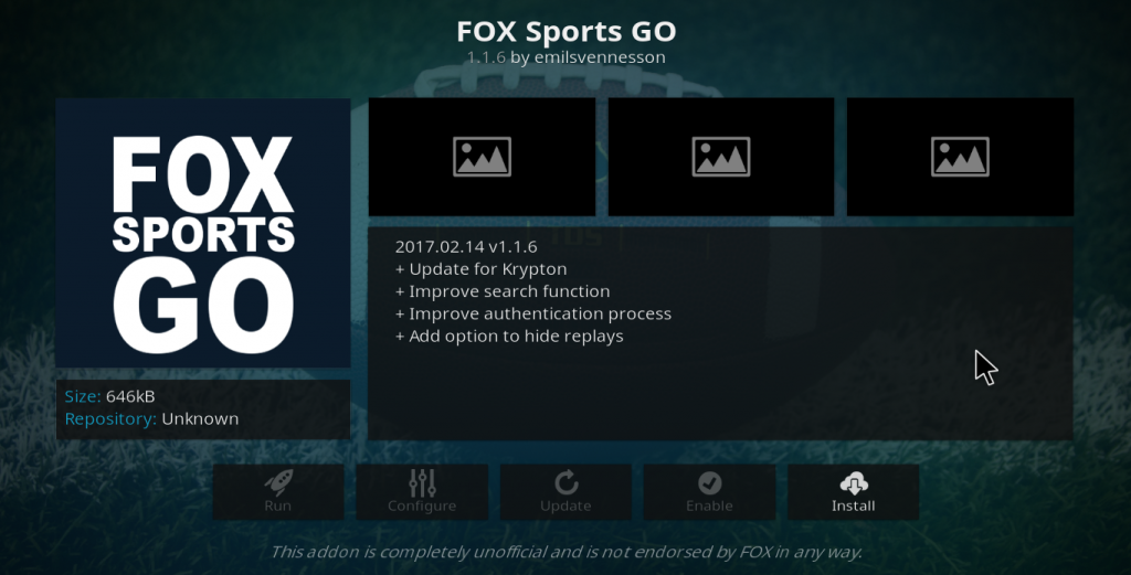 Fox Sports Go Kodi Add-on