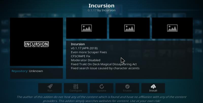 Incursion Kodi Add-on