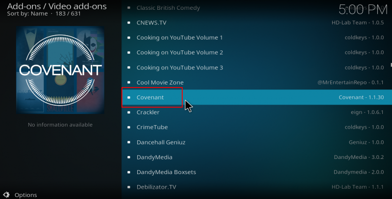 How to install covenant Kodi Add-on