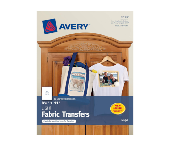 Avery 3275 Iron-On Light Fabric Transfers