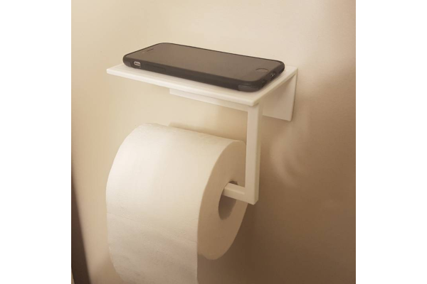 Toilet paper phone holder