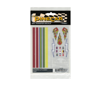 Pine Car Derby Dry Transfer Decals Stripes/Flames