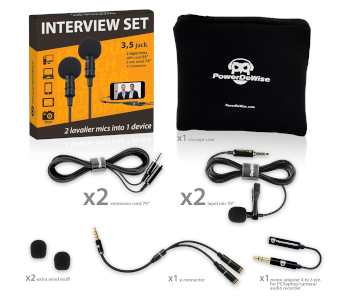 PowerDeWise Lapel Dual Interview Mic Set