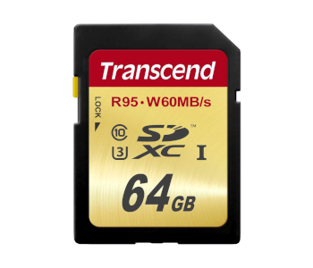 Transcend 64 GB High-Speed UHS-3 Flash Memory Card