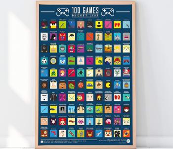 100 Video Games Bucket List Scratch-off Poster